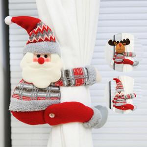 Ornamento de Navidad del partido de Navidad Faroot hebilla de la cortina Diseño lindo del dibujo animado de Santa Claus muñeco de nieve Elk Ventana decoración del hogar