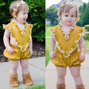 2018 новый стиль лето милый ребенок девушка желтый комбинезон V-образным вырезом без рукавов Sunsuit дети Baby Girls повседневная цельная одежда наряды
