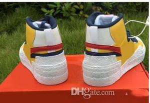 Sacai x Nike Mid Blazer Tropfenschiff echte Sacai x Mid Blazer Gelbe Uni rot Mais weiß blau Basketballschuhe Turnschuhe der Männer