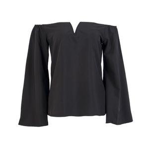Nouvelle mode des femmes sexy ladies au large col slash automne blouse épaule lâche tops blouse chemise casual solide manches longues flare