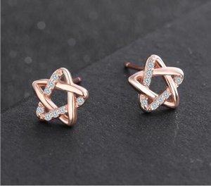 S925 gümüş pentagram küpe kore versiyonu gümüş yıldız zirkon altın earrings306 gül