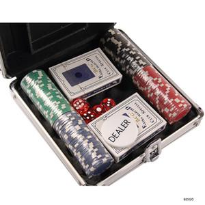 Divertissement Jeux Fournitures Aluminium Box Poker Chips Set 4cm Poker Chips Coin carte plastique Poker Chip Six Sided Dices 100 200pcs BH1305 DBC