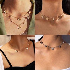 Dos capas Collar Gargantilla de la mariposa de la estrella de bolas de color plata colgante de oro chapado de aleación de mujeres de la cadena de joyería de moda 2020