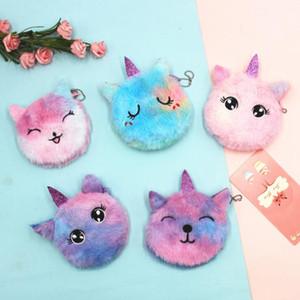 Çocuklar Unicorn Çanta Renkli Karikatür Peluş Kedi Çocuk Coin Çanta Anahtarlık Çanta Kart Çanta Yumuşak Dokunuş Mini Çanta