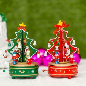 personalidad creativa New Kids creativa giro pulpo de madera caja de música de Navidad árbol de la caja de música