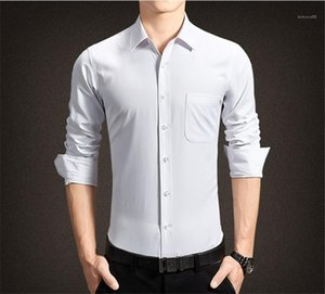 Down Collar Long Sleeve Shirts Mens Designer Dress Shirts Mens Regular Length Pure Color Tops Homme Turn