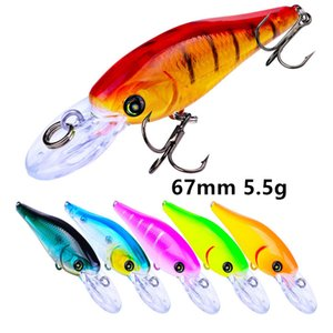 1pc Minnow Plastic Hard Baits & Lures 6 Color Mixed 67mm 5.5g 10# Hook Fishing Hooks B86_111