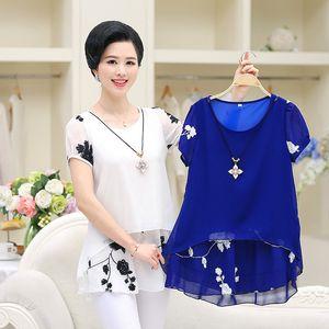 Nifullan Mujeres de Gran Tamaño de Manga Corta Camisas de Gasa Madre Blusas de dos pisos Moda Tops Jersey Blanco Negro Azul Y19062501