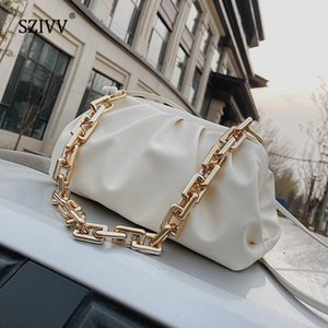 Gold Chain Shoulder Bags for Women 2020 Solid Color Luxury Female Crossbody Messenger Handbags Lady Party Clutch