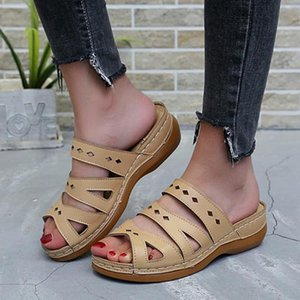 CHAMSGEND Women sandals car line wear-resistant anti-slip sandals plus size retro wedge with thick bottom comfortable