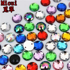 Micui 500pcs 8мм круглый Фаска кристаллы Поверхность FlatBack Камни Шитье акриловые стразы для свадебных искусств Crafts Decorate ZZ785