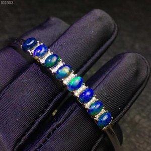 Naturale braccialetto nero opale, cielo notturno misterioso nebulosa, colori cangianti, origine australiana, argento 925