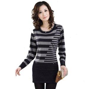 Fashion-donne maglione Nuovo abbigliamento Autunno Inverno Pullover Stripe maglia di lana Shirt Basic maglione Plus Size 5Xl Okxgnz