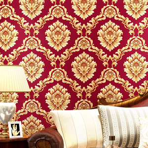 European Style pvc Wallpaper Luxury Damask 3D Stereoscopic Relief Damascus Bedroom Living Room Wall Paper Home Decor Paper