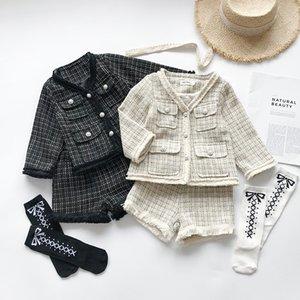Suit 2019 autunno inverno 2pcs per il bambino scherza ragazza bambino Cardigan Plaid Jacket + Shorts vestito delle ragazze temperamento che coprono insieme T200413