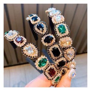 Coloré diamant bandeau avec grand Gemstone baroque main Bandeaux Mode Femmes Bijoux bling strass cheveux Accessoires 3 couleurs
