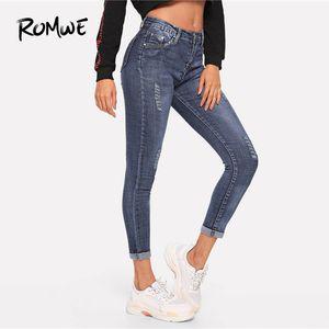 Romwe Solid Ripped Jeans 2019 Kühle Tasche Lässig Blau Frühling Sommer Herbst Damenmode Reißverschluss Mittlere Taille Ripped Jeans Y19051801