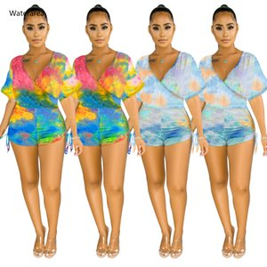 Summer Women Romper Elastic Tie Dye Galaxy Print V-neck Short Sleeve Ruched Short Jumpsuit Sexy Night Club Party Playsuit Outfit T200704