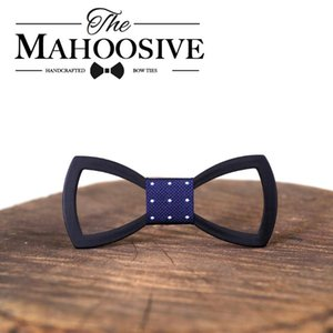 Bow Tie Cravats Mens Wooden Bow Tie Mahoosive Wood Colorful Engraved Butterfly Groom Marry Groomsmen Wedding Party Men Geometric