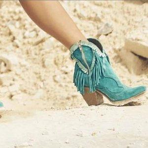 Puimentiua 2019 Nova Mulheres Fringe Botas Sólidos Suede Low Heel Feminino Outono Zipper Casual Tassel Sapatinho Botas Mujer