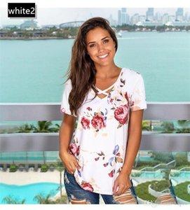 V Neck sciolti T scava fuori donne del collare magliette di estate vestiti casuali Flora Stampa Sexy