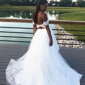 Hollow Back Wedding Dresses Off Shoulder Short Sleeve Lace Top Tulle Skirt A Line Boho Bridal Gowns Vestidos De Noiva