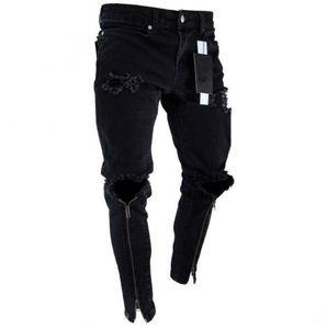 Erkek Fermuar Delikler Jeans Ripped Slim Fit Represen Mens Kalem Pantolon Hiphop Streetstyle Erkek Pantolon