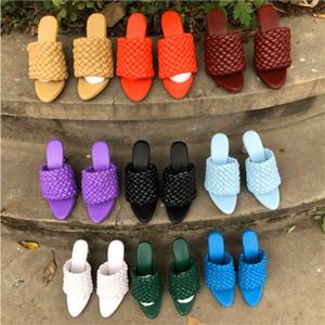 Nuevo en punta señaló sandalias de tacón tejidas dedo del pie abierto damas fina piel de oveja talón zapatos de tacón alto de la moda de verano de los deslizadores