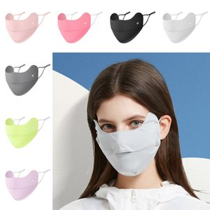 DHL Shipping Anti-Ultraviolet Outdoor Ice Silk Sunscreen Mask Breathable Hanging Ear Type Adjustable Nose And Eye Protection Masks L364FA