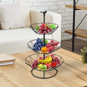 Countertop Fruit Basket Holder Decorative Tabletop Stand Perfect for Vegetables, Snacks, Household Items, 3 Tier Black