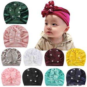 New Europe Bebek Kız bebekler Şapka Pileli Boncuk Şapkalar Çocuk Bebek Çocuk kasketleri Turban Şapkalar Çocuk Pleuche Şapka 11 Renkler