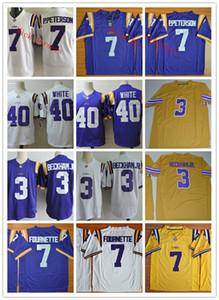 Мужские LSU Тигры # 7 Леонард Форнетт # 3 Оделл Бекхэм младший футбол Джерси прошитой # 7 Патрик Петерсон # 40 Devin Белый LSU Тигры Джерси