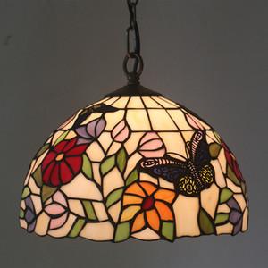 قلادة الإضاءة 2019 غرفة جديدة تيفاني Chandeiler الإضاءة ريترو الطعام بار مصابيح قلادة زجاج ملون الزهور فراشة ضوء مصباح