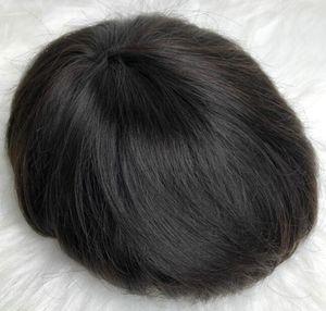 Männer-Haar-Perücken Super-Voll dünne Haut Toupet seidige gerade schwarze Farbe # 1b 12A brasilianische Jungfrau-Menschenhaar-Ersatz für Männer geben Verschiffen