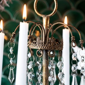 Classical Crystal Candle Holders Old Iron Candelabra Table Hanging Four Candles Retro Candlestick Bougeoir Arrangements FC280