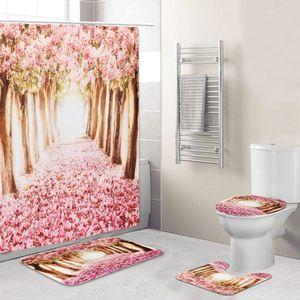 Avrupa Pembe Sakura Ağacı Desen Banyo Dört parça Suit, Duş Perde Banyo Kaideye Kilim Kapak Tuvalet Kapak Banyo Paspas Seti