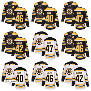 Yeni Stil 40 Tuukka Rask Boston Bruins Hokey Formaları David David Krejci 47 Torey Krug Jersey Özel Dikişli Siyah Beyaz