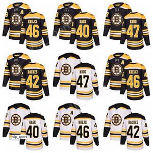New Style 40 Tuukka Rask Boston Bruins Maglie da hockey David Backes David Krejci 47 Maglia Torey Krug con cuciture personalizzate Nero Bianco