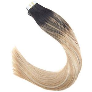 2019 배송비 무료 배송 14-24inch Balayage Tape in Hair Extensions 50g Brown to Blonde # 1B / 12 / 60