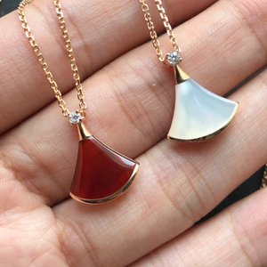 S925 Sterling Silver Fan-Shaped Skirt Necklace Female White Fritillary Clavicle Chain Tide Net Red Rose Gold Red Chalcedony Pendant