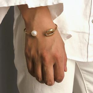 Mode Perle Muschel Hand Manschette Armreif für Frauen einfache Golddraht offenes Armband geometrische Boho Schmuck Geschenk