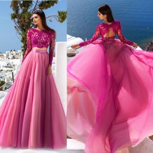 Elegante Fuchsia Zweiteiler 2020 Abendkleid Mit Langen Ärmeln Spitze Tüll Sheer A Line Abendkleider Party Kleid Formal Pageant Wear