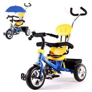 Free shippingBaby Wheels Tricycle Bike Umbrella Stroller Preschool Children Tricycle Bicycle Guadrail Shopping Basket By Pram Pushchair