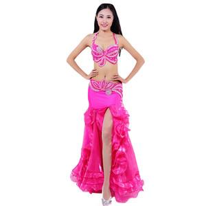 2018 Desempenho da dança de barriga trajes egípcios Dança Oriental Outfits 3pcs Mulheres Belly Dance Costume Set Bra Belt saia