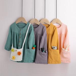 Baby Cotton Linen Prinzessin Kleid 2020 Frühlings-Herbst-Mode-Boutique-Kind-Baby feste Kleider Kinder Kleidung M1154