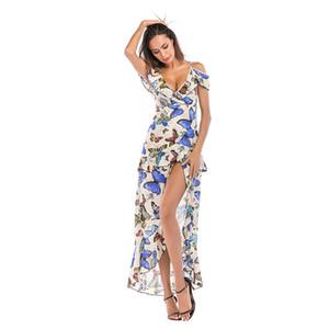 Women V Neck Ruffle Floral Print Summer Dress Backless Strap Boho Dress Sleeveless Irregular Split Maxi Beach Dress Vestidos