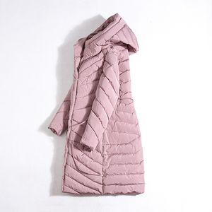 DHfinery Frauen Winter Daunenjacke lange weiße Ente entwerfen unten Mantel Große Kapuzenjacke bei minus 30 Grad N515