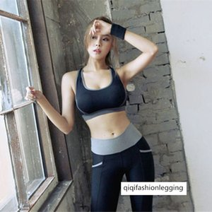 Autumn Women's Wear Sports Yoga Fitness Clothing Suit Black Vest Slim Fit Trousers Two-piece Set 1509