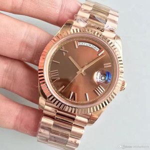 Assista 40mm Roman Digital Dial 18CT Rose Gold Shell Chocolate 228235 Series movimento mecânico automático de vidro de safira Headband Stra