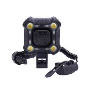 NEW black Bike Lights With 140dB safety Horn IPX6 Waterproof Rechargeable LED Bicycle Light Horn Dropshipping Z0725